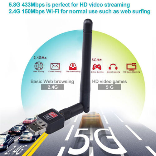 150Mbps Dual Band 2.4Ghz Wireless USB WiFi Network Adapter Antenna 802.11 HTC