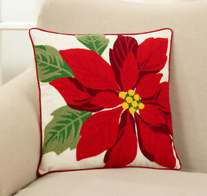 Crewel Embroidered Poinsettia Down Filled Throw Pillow Ebay
