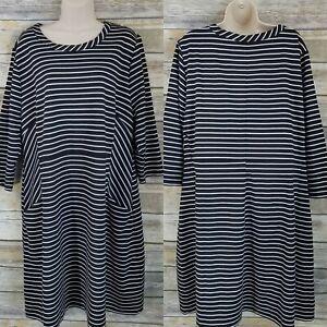 Lane-Bryant-Size-18-20-Shift-Dress-Black-White-Striped-Casual-Scoop-Neck-Plus