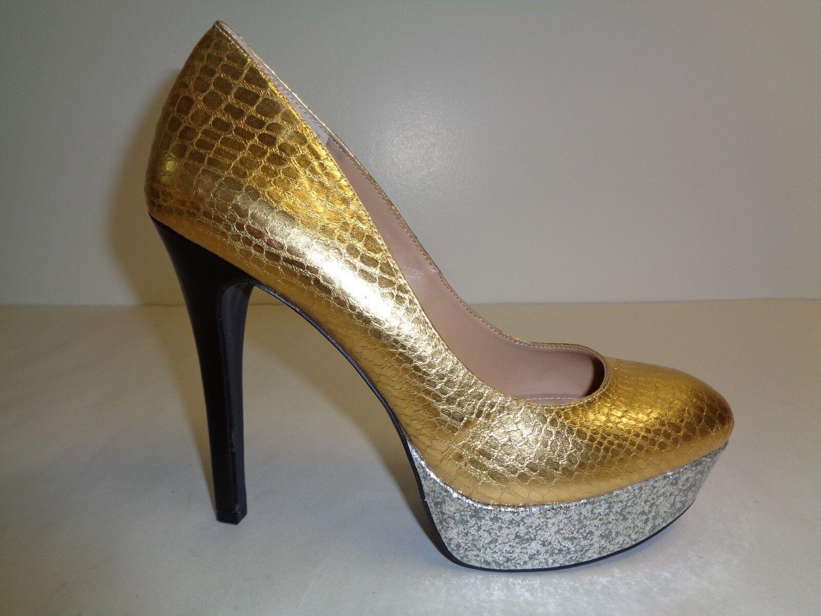BCBG BCBGeneration Size 7.5 M MASE B Gold Heels Platforms Pumps New Donna Shoes