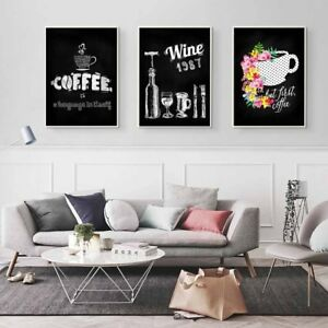Image Is Loading Wine Coffee Canvas Prints Modern Bar Cafe Kitchen