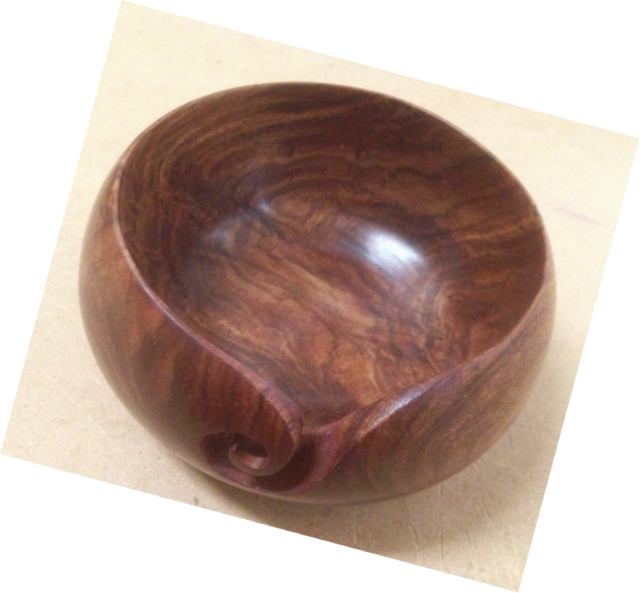 Wooden Yarn Bowl Handcrafted Smooth High Gloss For Knitting And Crochet Brown