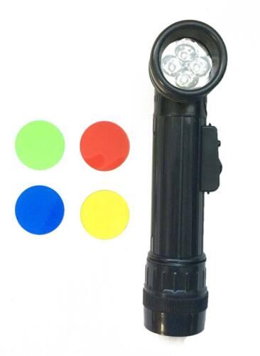Linterna angulo 4 Leds negra militar mediana colores rojo verde azul amarillo