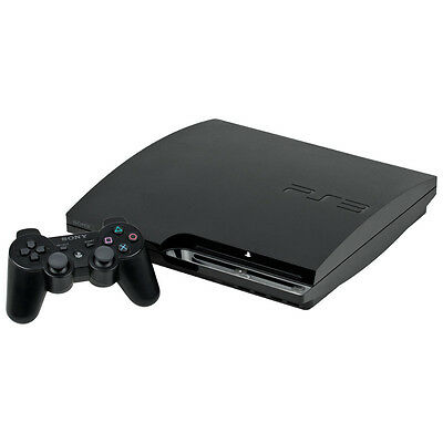 Sony Playstation 3 Slim 120 GB Charcoal Black Console Very Good Condition