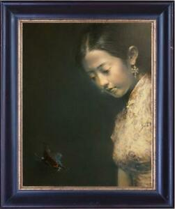Hand-painted-Original-Oil-painting-Portrait-art-chinese-girl-On-Canvas-20-034-X24-034