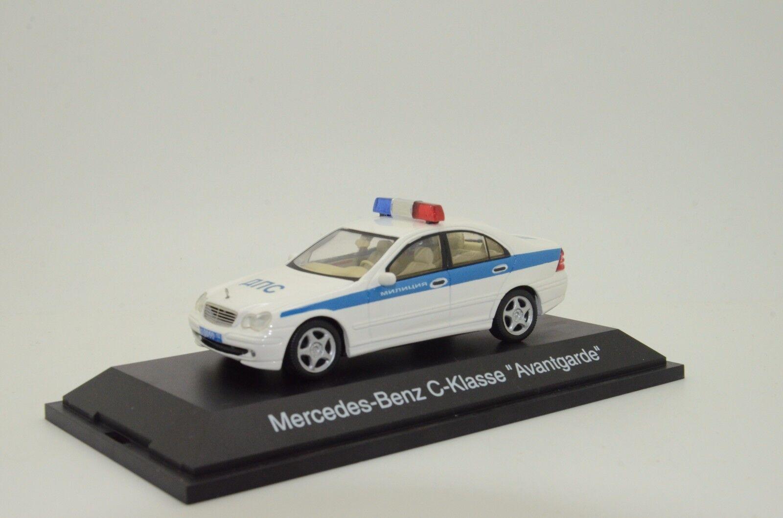 Raro Mercedes C-KLASSE W203 la policía rusa personalizado hecho Schuco 1/43