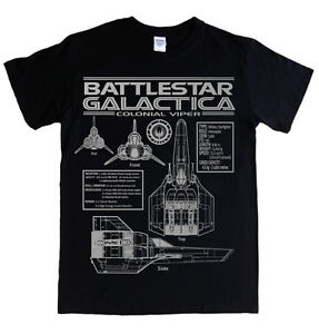Battlestar Galactica-viper Blueprints S - 5xl T-shirt Specs Logo Colonial Tv-afficher Le Titre D'origine