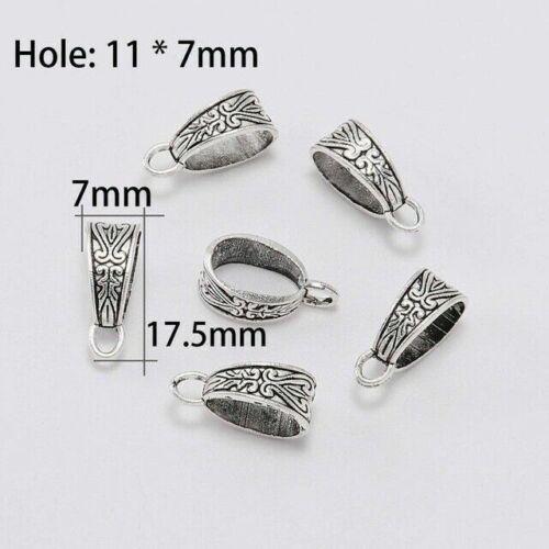 20pcs Argent Antique Clip Bail Beads Pendentif Fermoir Jewelry Collier connecteur