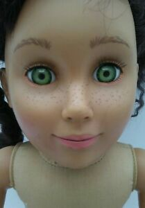 Tollytots-18-034-Cloth-amp-Vinyl-Brown-Hair-Green-Eyes-Freckles-Doll-Canada-AG-Friend