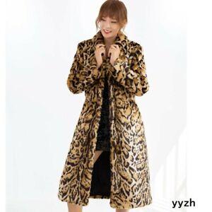 Womans Faux Fur Leopard Mid Long Parka S-6XL Plus Size Outwear Jacket Coat