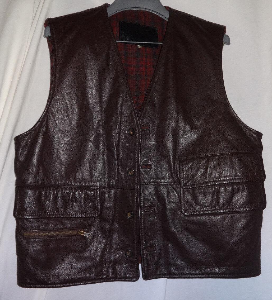 Vintage VALENTINO Mens Shearling Leather & Wool Vest Sz 48  Pelle
