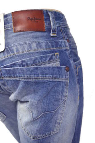 Jeans Pepe cotone Jeanius 100 solido once denim Mid 13 Fit Blue N56 Comfort rrfwqd