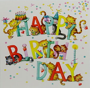 Nina Chen Postkarte Katzen 14x14 Glitzer Happy Birthday Grusskarte