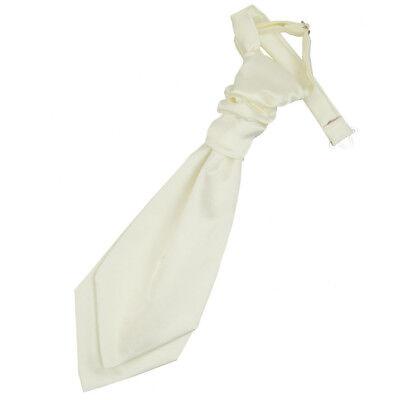 Modesto Dqt Raso Tinta Unita Avorio Solido Formale Matrimonio Pre-legato Cravatta Per Ragazzi- Eppure Non Volgare