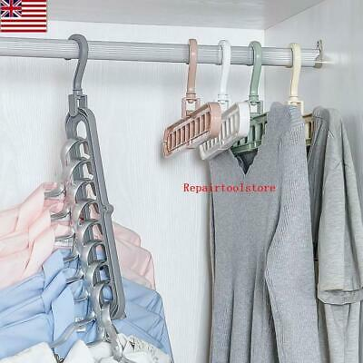 9 Hooks Magic Hangers Clothes Space Saving Hanger Closet Organizer PP Plastic US