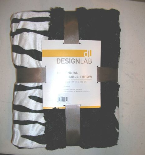 JCP Velvet Plush Zebra Print Throw Blanket Reversible to Black 50x70 NWT