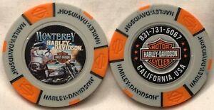 Monterey-Harley-Davidson-in-Monterey-CA-Collector-Poker-Chip-Gray-Orange-NEW