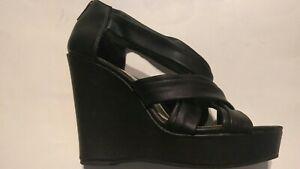 Nine-West-Women-s-Strap-Wedge-Shoes-Open-Toe-Black-Size-US-8-5