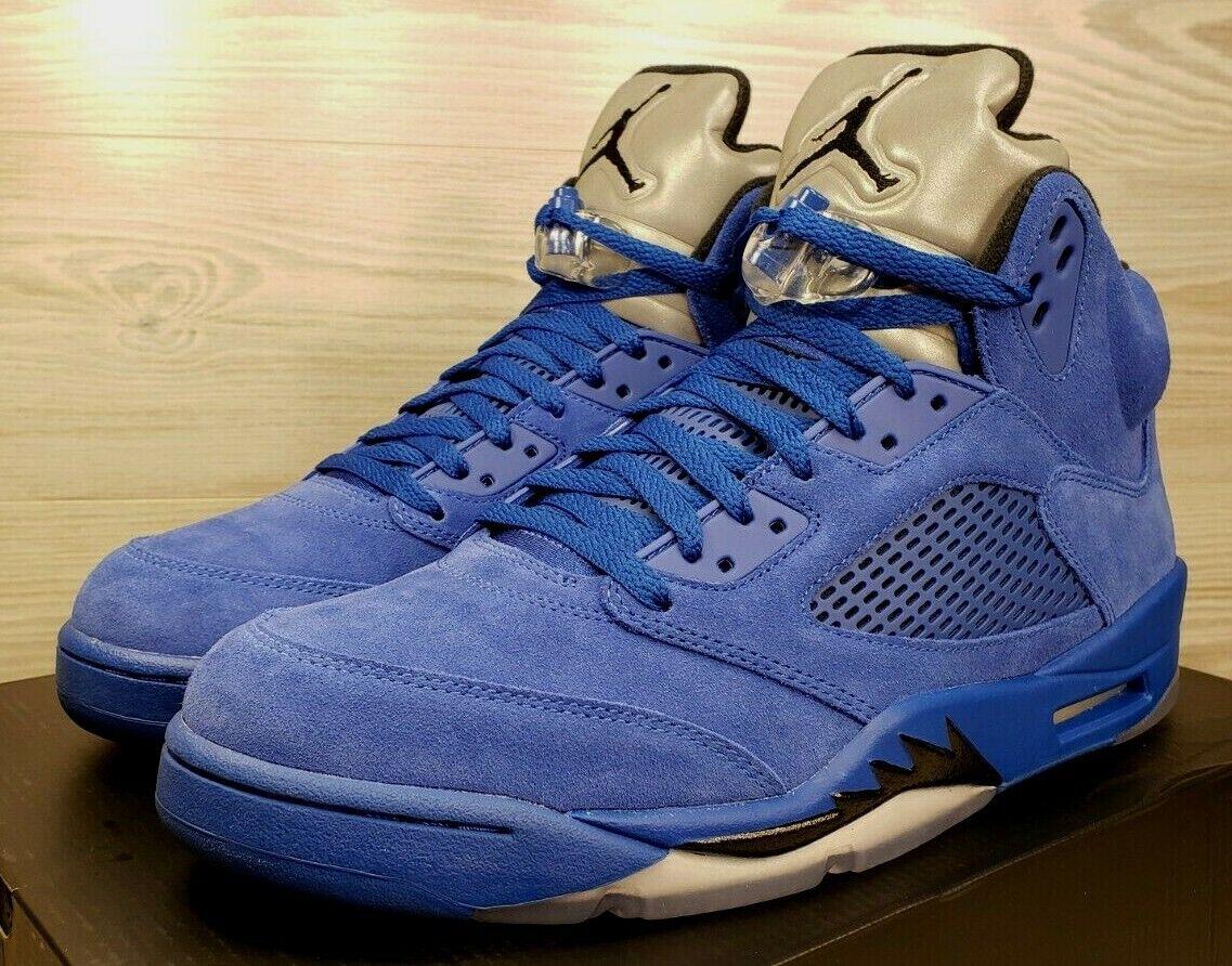 "Nike Air Jordan 5 Retro Game Royal Black ""bluee Suede"" 136027-401 Pick Size"