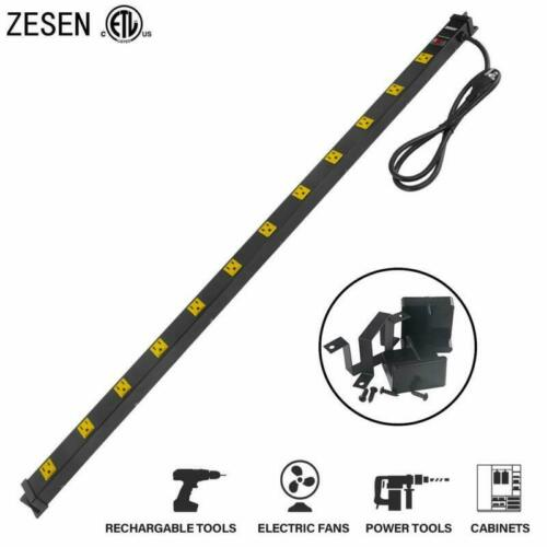 Zesen 12 Outlet Heavy Duty Workshop Metal Power Strip Surge Protector With 4Ft H