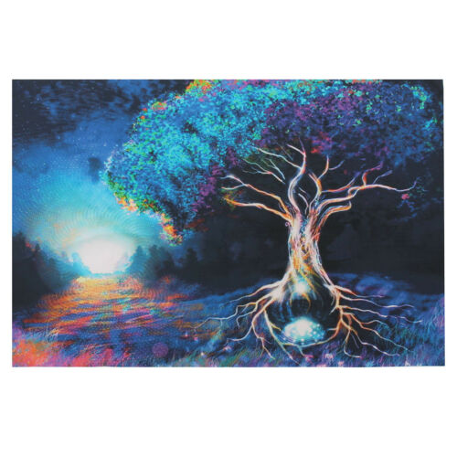 Psychedelic Trippy Tree Pattern Silk Fabric Posters Visual Mind Manifesting