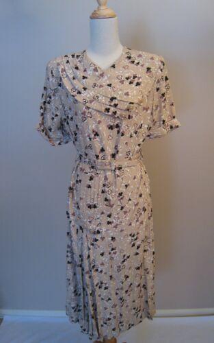 Vintage 1940's Rayon Print Dress