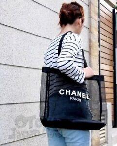 4ee9e28e0a8a CHANEL Beauty GIFT BLACK MESH Tote Bag ~ Shopping Travel ~ Beach ...