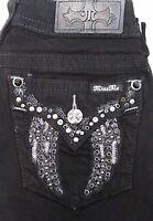 NWT MISS ME JEANS Women's Dark Angel Wings Embellished Pockets Slim Skinny Pants