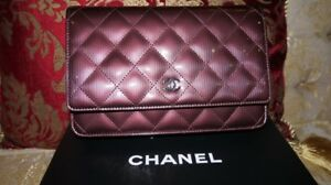 5f0b03a875c526 AUTH NEW CHANEL BURGUNDY WALLET ON CHAIN WOC BAG PATENT LEATHER ...