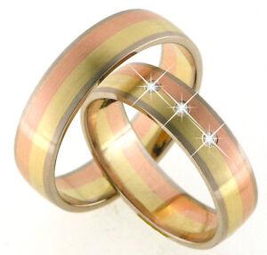 Luxus-Trauringe-Eheringe-585-Gold-Gelb-Rot-und-Weissgold-tricolor-Massiv