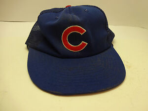 48839384 Image is loading Vintage-Chicago-Cubs-Mesh-Snapback-Twins-Blue-Trucker-