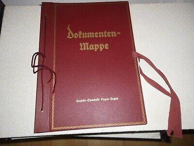 Alte Dokumentenmappe Urkundenmappe Mit 12 Seite