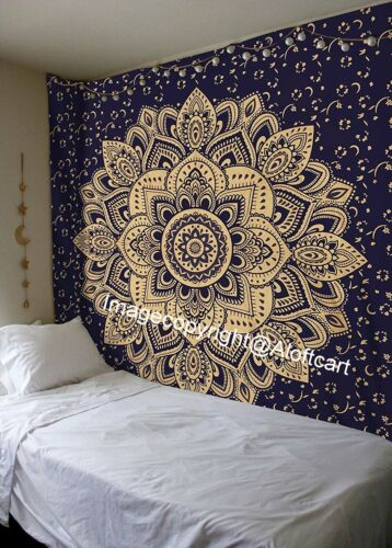 Blue Gold Passion Ombre Boho Indian Mandala Wall Hanging Gypsy Tapestry Wall Art