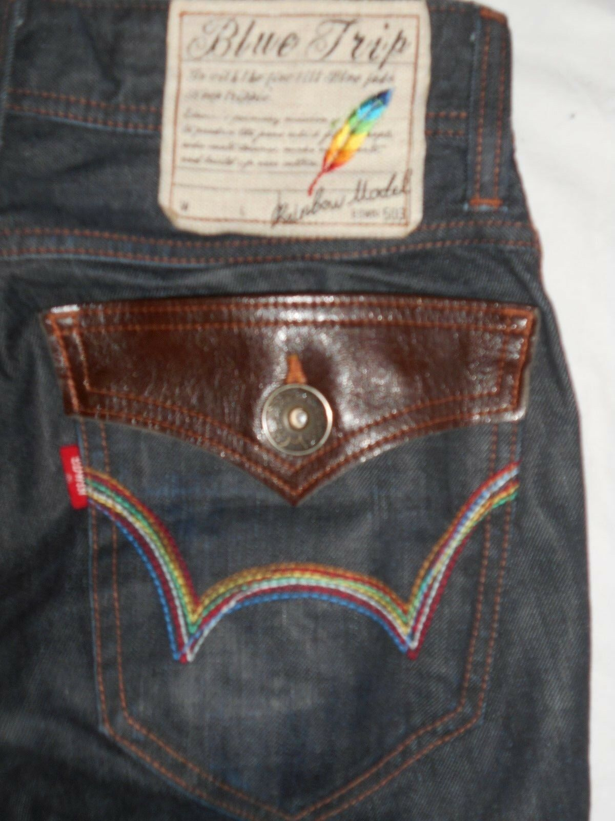 EDWIN 503 Men bluee Tuip Rainbow Model Zip Fly Jeans Size 29Waist-34Inside Leg