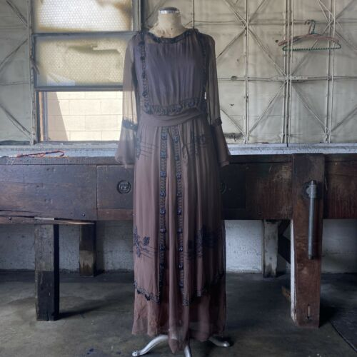 Antique 1910s Brown Silk Chiffon Tiered Beaded Dr… - image 1
