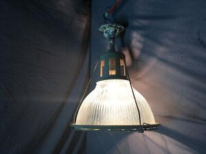 Vintage-Cage-Industrial-Holophane-Ceiling-Light-Fixture-Factory-Work-361-19L