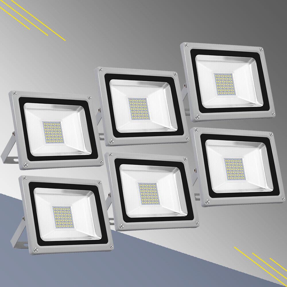 6X 30W LED Fluter Strahler Scheinwerfer Baustrahler Außen Strahler IP65 Kaltweiβ