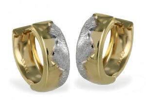 ECHT-GOLD-Kleine-Creolen-Ohrringe-bicolor-13-mm
