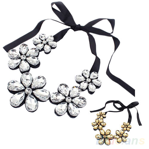 Women Flower Rhinestone Ribbon Bib Collar Statement Pendant Necklace Gifts New