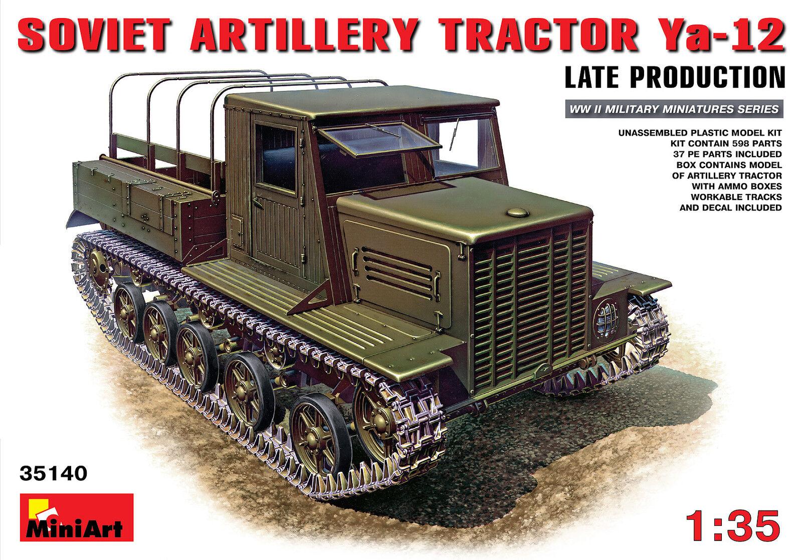MIN35140 Minikonst 1 35 - Ya -12 Late Prod sovjetisk konstilleri Tractor modellllerler Kit