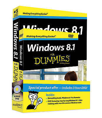 1 of 1 - Windows 8.1 for Dummies Book + DVD Bundle - NEW SEALED