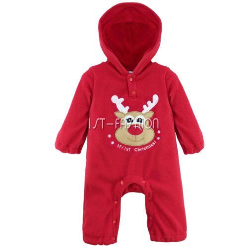 Baby Boys Girls Christmas Outfits Xmas Reindeer Santa Costumes Hooded Romper Red