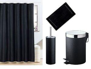 Black bathroom accessory set shower curtain bath mat pvc for Black bathroom bin and toilet brush