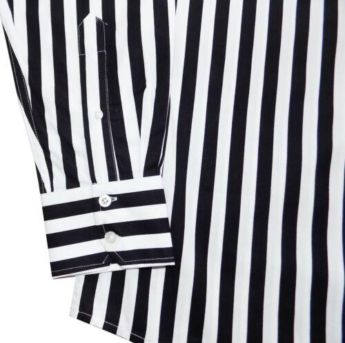 Relco Men/'s Black White Striped Button Down Weller Candy Stripe Shirt