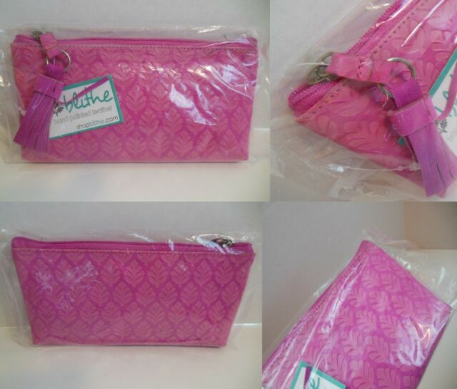 Small Cosmetic Bag Small Zip Pouch Card Phone Holder Small Pink Clutch NEW