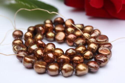 Bk16 de culture strang vraies perles Bijoux Chaîne Collier 8-9mm baroque