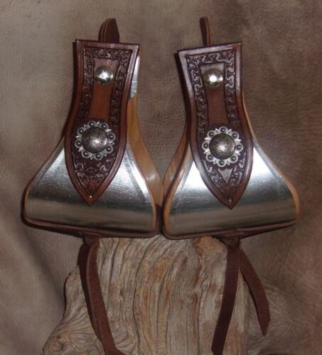 """g/&e main ciselée Berry Conchos Nouveau Large USA Made Metal Bound Bell étriers 5/"""""""