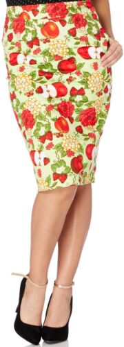 """VOODOO VIXEN 50/""""s PENCIL SKIRT FLOWERS AND APPLES S M L GREEN ROCKABILLY PIN-UP"""