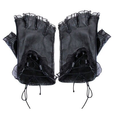 TRIPP LACE-UP LOOK BLACK D-RING FINGERLESS GLOVES NEW WITH TAG