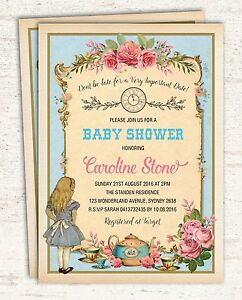 Vintage Alice In Wonderland Invitation Baby Shower Birthday Garden